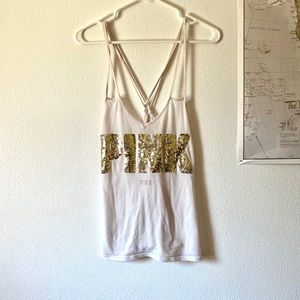 Cute White & Gold PINK Tank Top